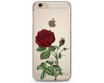 Red Flower iPhone Case, iPhone 6 plus case Transparent iPhone Case, iphone 6s case, iPhone 7 case, iPhone 6s plus  case R18