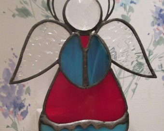 Angel Night Light in Stained Glass - Red & Turquoise