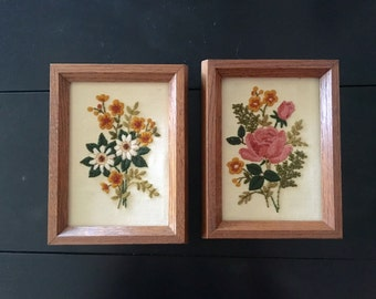 Framed Embroidered Floral Wall Hangings - Set of 2