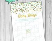 Gold and mint Baby shower games bingo game glitter Printable INSTANT DOWNLOAD UPrint by greenmelonstudios glitter baby shower