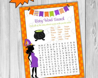 Halloween Baby Shower Games Word Search Game Printable INSTANT DOWNLOAD  UPrint By Greenmelonstudios Halloween Witch Baby