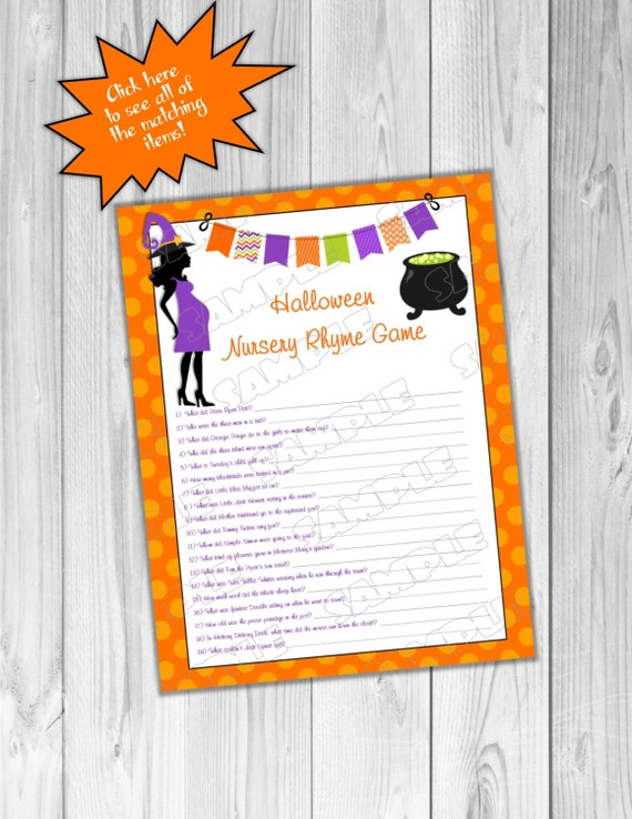 halloween baby shower games nursery rhyme game printable instant