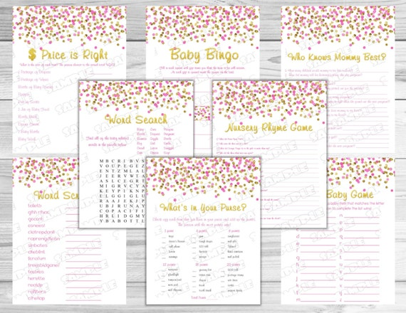 Pink And Gold Baby Shower Games Set Of 8 Games Bundle Glitter