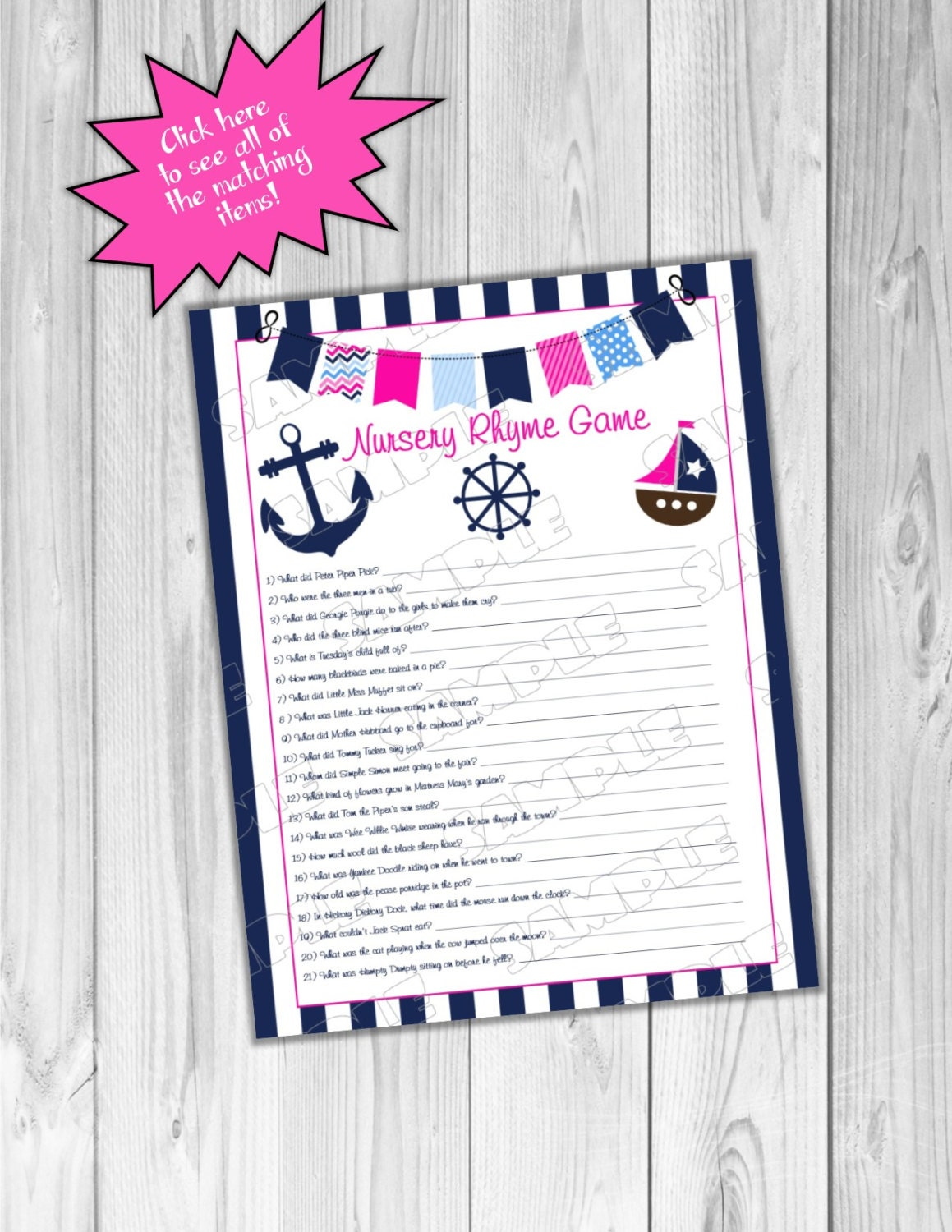 pink nautical anchor baby shower games nursery rhyme game