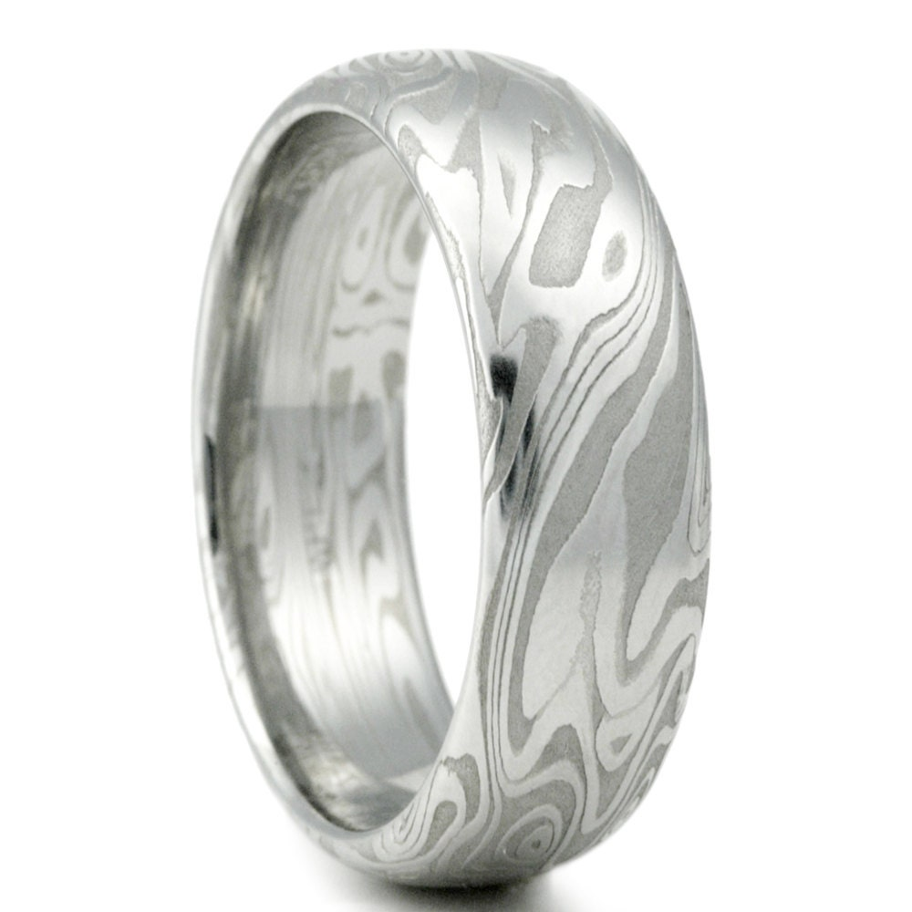 Damascus Steel Wedding Band: Damascus Ring Unique Wedding Band For Men With Four Pointed