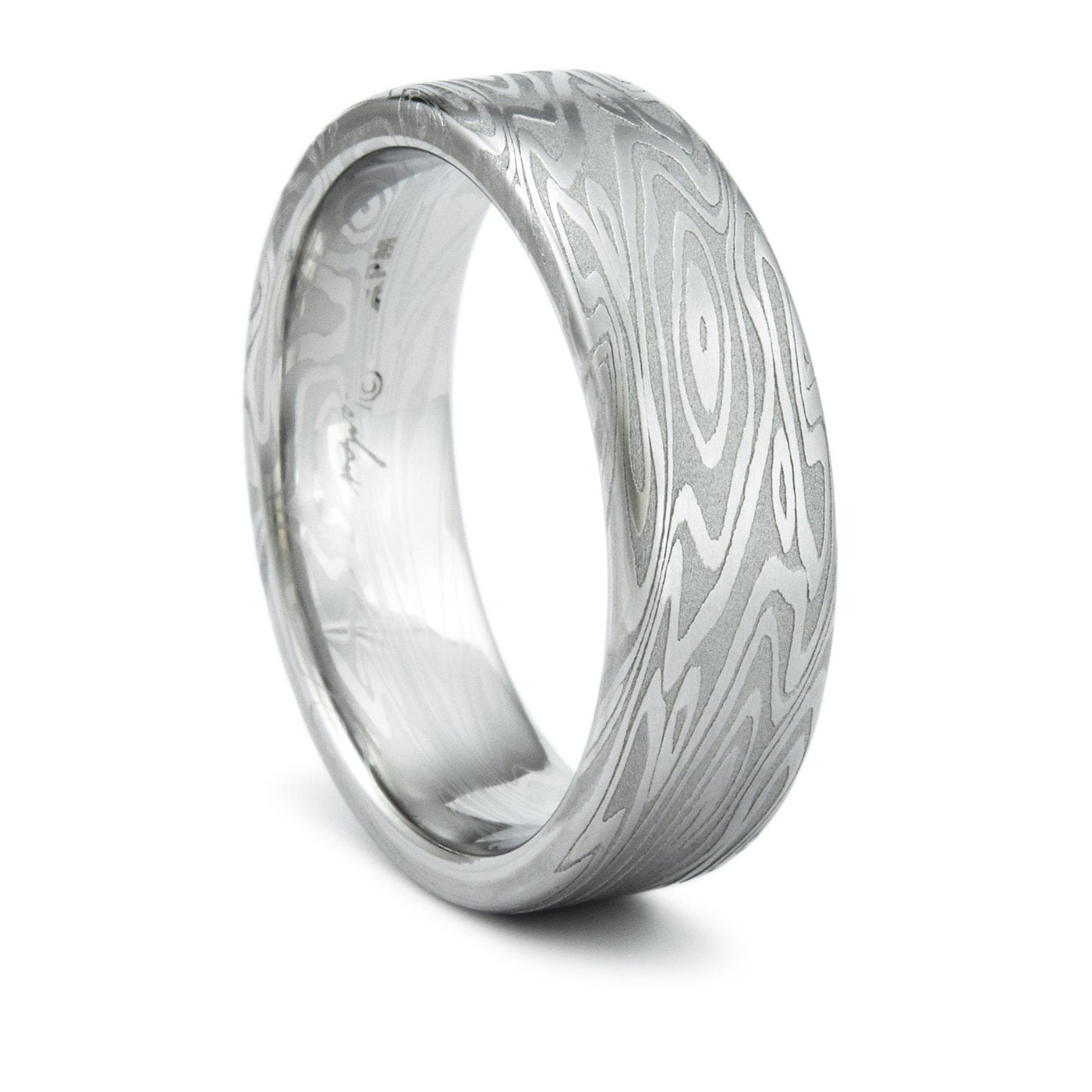 Damascus Ring Unique Men s Wedding Band Twisted Wood Grain