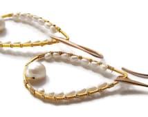 Large Pearl Hoop Earrings Gold Modern Earrings Unique gifts for women Big Gold Hoops Handmade Pearl Jewelry Valentine Gifts under 50 dollars