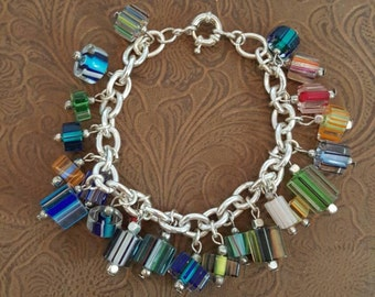 Cane glass or furnace glass bracelet