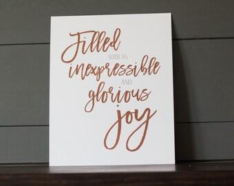 8 x 10 - Joy - 1 Peter 1:8 Scripture Print