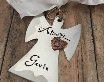 Angel Ornament, Memorial Ornament, Infant Loss Gift, Miscarriage Gift, In Memory Of, Personalized Ornament, Hand Stamped Angel, Angel Gifts