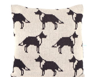 Collie Dog Knitted Cushion Cover