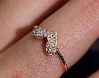 Pave Setting Diamonds Wedding Band,Heart Band,Diamond Ring