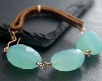 Aqua Chalcedony, Aquamarine, Leather Bracelet, 14K Gold Fill, Gemstone Bracelet, Chunky Bracelet, Gemstone Nugget, Natural Stone, Aqua, Boho