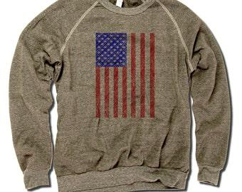 USA Vintage Crew Sweatshirt S-2XL USA Flag Sketch RB