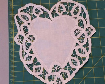 Battenburg lace heart shape doily. White