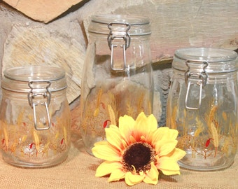 Glass Canister Set, French Wheat Canisters, Glass Kitchen Canisters, Wheat Pattern Canisters, Glass Jar Canisters, Arc Jars, French Canister