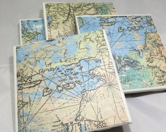 4 pack of tile coasters - vintage map print!
