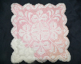 12 Antique Handmade Fillet Lace Square Mats , Fillet Lace Coasters - Never Used Still Sewn Together