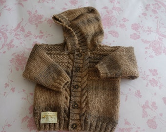 Lovely hand knitted boy's hooded sweater in marbled double knit wool in browns to fit approx 6-12 months