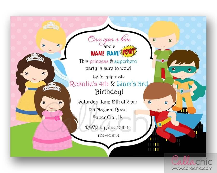 Princesses and Superheroes Birthday Invitation PRINTABLE