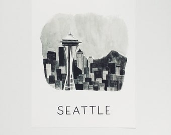8x10 Seattle Watercolor Print