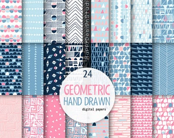 geometric digital paper blue pink hand drwan triangle scrapbooking papers collage sheet modern design