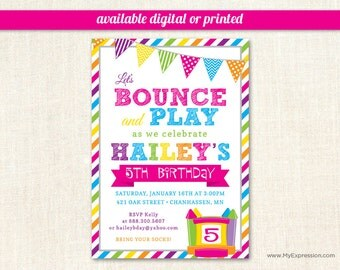 Bright Stripes Bounce House Girl Birthday Invitations - Pump It Up Birthday Party - Digital or Printed