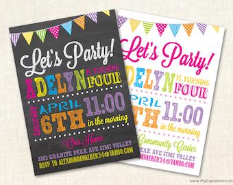 Poster Style Chalkboard Birthday Invitations - Girls Birthday Invitation - Digital or Printed