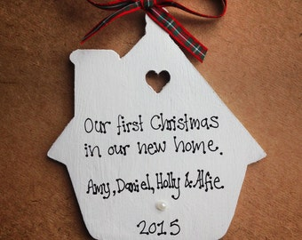 Personalised First/1st Christmas Tree Decoration in our new home family