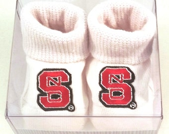 NC State Wolfpack Boxed Baby Booties