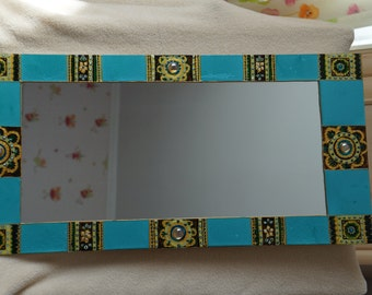 "Hand painted mirror ""Emerald"""