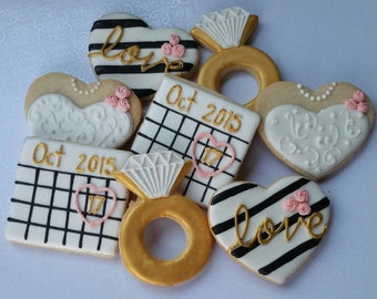 Bridal Shower Cookies, Engagement cookies / 1 dozen
