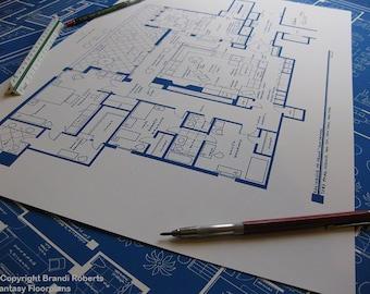 Megan and Don Draper Apartment Floor Plan Poster - Mad Men Blue Print - Gifts under 50 - Modern wall art