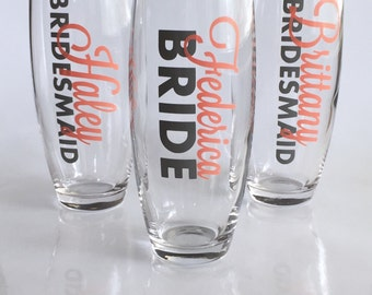 Bridesmaid Gift, Bridal Party Champagne, Wedding Day Glass, Champagne Flute, Bridesmaid Champagne, Bride Champagne, Stemless Champagne
