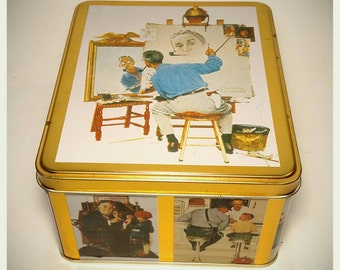 Collectible Curtis Publishing Norman Rockwell Triple Self Portrait Commemorative Tin/ Storage Box/ Cookie Tin/Candy Tin/Best Gift Idea/F1191