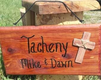 Cedar Custom Family Name Sign with Cross