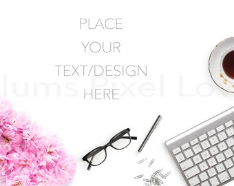 desktop flatlay mockup, Styled Stock Photography mock up, Overlay text, copy space, Bloggers image, photography, digital image, feminine