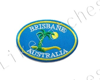 Brisbane - Australia - Blue Patch New Sew / Iron On Patch Embroidered Applique Size 7.9cm.x5.3cm.