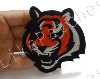 Tiger Animal Face New Sew / Iron On Patch Embroidered Applique Size 7.7cm.x8cm.