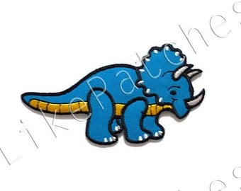 Triceratops - Blue Dinosaur - New Sew / Iron On Patch Embroidered Appliques Size 9.6cm.x5.1cm.