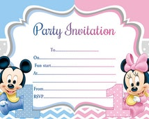10 x Children Twins Joint Birthday Party Invitations