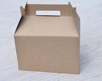 10 Large Kraft Gable Boxes 9x6x6 Brown Natural Craft Favor Box