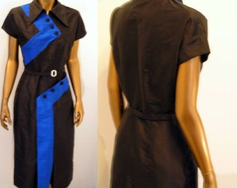 1950s Sophisticated Spectator silk wiggle dress  XS