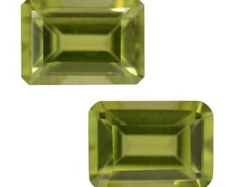 Hebei Peridot Set of 2 Loose Gemstones Octagon 7x5mm TGW 1.75 cts.