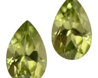 Hebei Peridot Loose Gemstones Set of 2 Pear Cut 1A Quality 6x4mm TGW 0.80 cts.