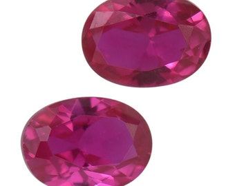 Ruby Synthetic Lab Created Set of 2 Loose Gemstones Oval Cut 1A Quality 5x3mm TGW 0.45 cts.