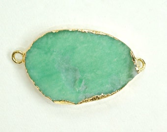 Green Chrysoprase Connector, Gold Electroplated Chrysoprase smooth slice slab Connector Link