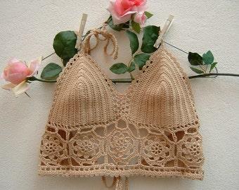 Crop top crochet hippie chic-cotton Top ecru-Top crochet Beach-Coachella-Top fashion boho