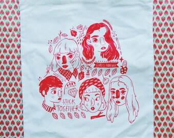 Girls Forever // Screenprinted Tote Bag