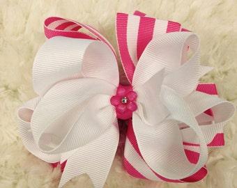 Pink & White Stripe Hair Bow